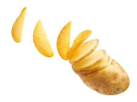 Potato slices turning into chips isolated on white background