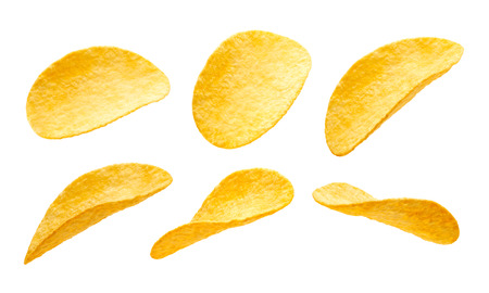 Potato chips isolated on white background Foto de archivo