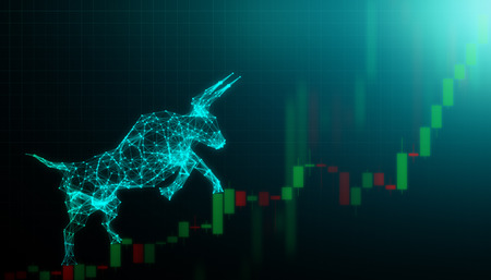 Bull market, Financial and business concept Stock Photo