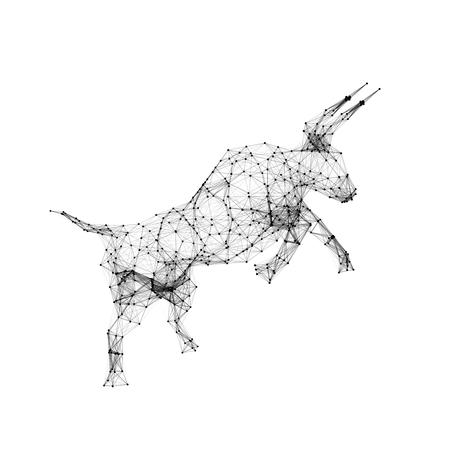Geometric bull isolated on white background