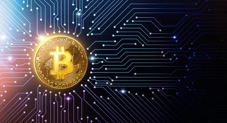 Golden bitcoin on circuit board - 3D Rendering