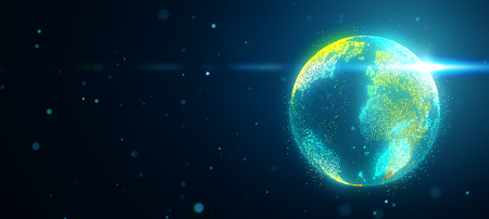 Planet earth in space with obscured flare, abstract background