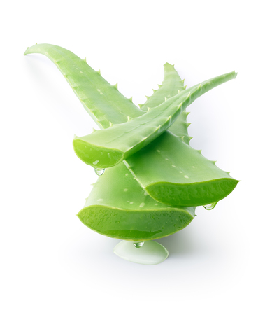 Aloe vera dripping on white background