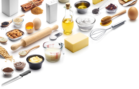 Isometric presentation of baking ingredients