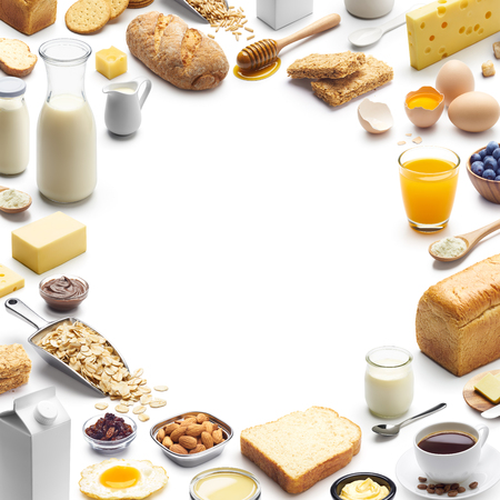 Different types of breakfast forming a frame with copy space