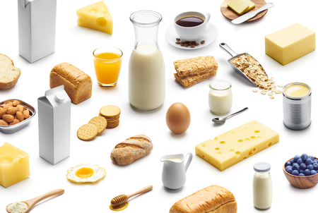 Isometric presentation of healthy breakfast over white background 写真素材