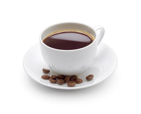 Filiżanka czarnej kawy na białym tle Zdjęcie Seryjne