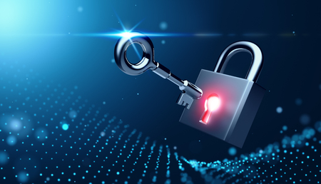 Glowing lock with key on abstract background Banco de Imagens