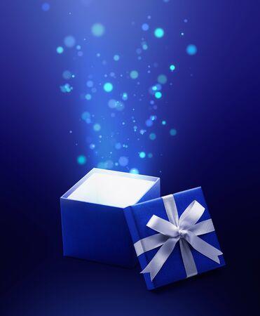 Coffret cadeau ouvert bleu avec lumière magique