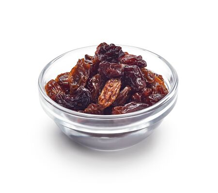 Bowl of raisin isolated on white background - clipping path included