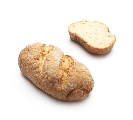 Whole grain gluten free bread over white Stock Photo