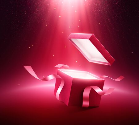 Red open gift box with ribbon on glittering background Zdjęcie Seryjne