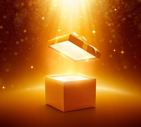 Gold open gift box on glittering background