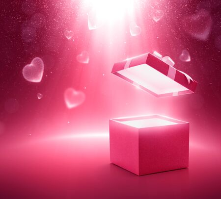 Pink color open gift box on glittering background