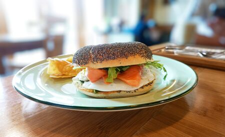 Breakfast - Toasted bagel with salmon Banco de Imagens