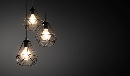 Decorative ceiling lights  hanging lights on dark  with copy space Banco de Imagens