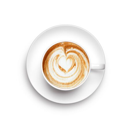 A cup of cappuccino over white background - top view