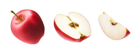 Set of fresh whole, cut half and slice red apple isolated on white