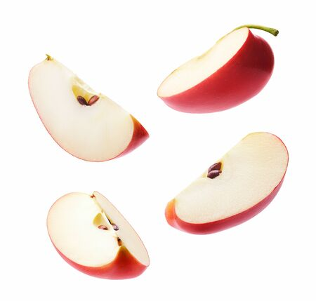Different angle of slices red apple isolated on white Banco de Imagens