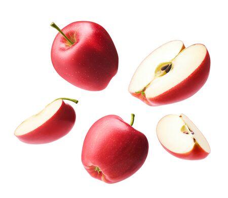 Set of red apple isolated on white Zdjęcie Seryjne