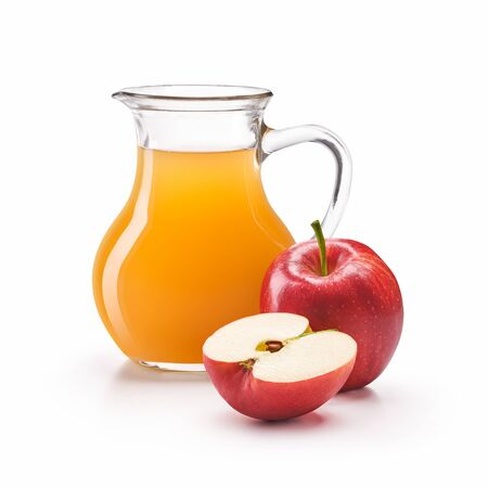 A jug of apple cider vinegar with fresh red apples isolated on white background Banco de Imagens