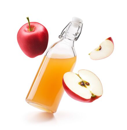 Apple cider vinegar with fresh red apples isolated on white background Zdjęcie Seryjne