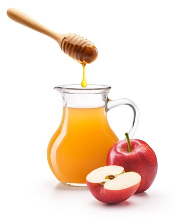 Apple cider vinegar with honey isolated on white background