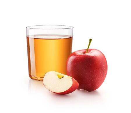 A glass of apple juice with red apples isolated on white