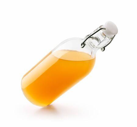 Bottle of fresh orange juice isolated on white
