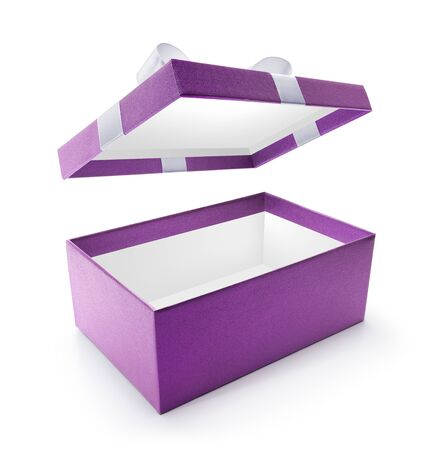 Purple open gift box isolated on white background
