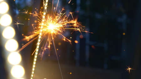 Happy New Year, Burning sparkler with copy space