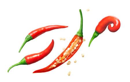 Group of red chili pepper isolated on white background - clipping path included