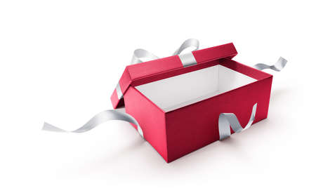 Red open gift box with silver ribbon isolated on white background Zdjęcie Seryjne