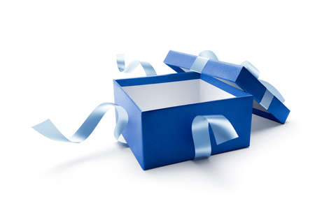Blue open gift box with ribbon isolated on white background Zdjęcie Seryjne