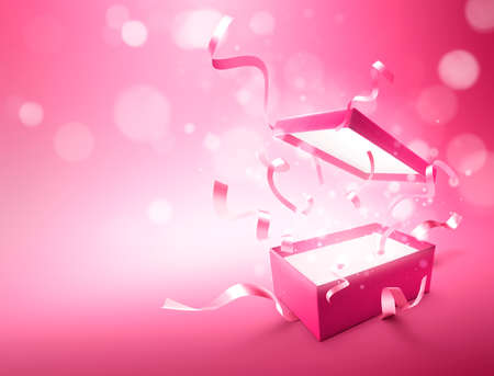Ribbons bursting out from pink color open gift box