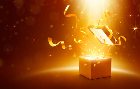 Ribbons and confetti bursting out from gold open gift box over sparkling light effect background