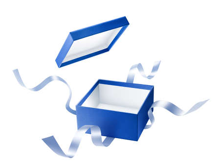 Blue open gift box with ribbon over white background Zdjęcie Seryjne