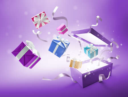 Ribbons and gifts bursting out from purple color open gift box