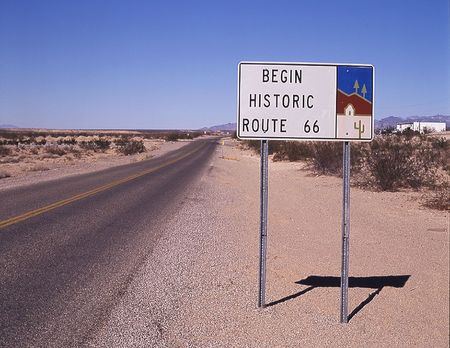 City of Top Rock. Beginning of historic Route 66 road sign