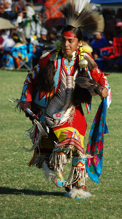 Scottsdale, AZ, USA - November 1, 2014: 28th Annual Red Mountain Eagle Pow Wow celebrated at the Salt River Pima - Maricopa Indian Community. Nations from all over the US and Canada danced and sang. Editorial use. Taken 1112014 Sajtókép