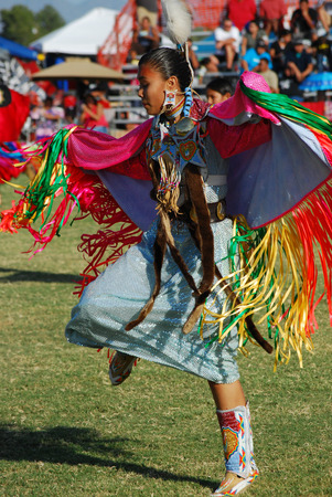 danced: Scottsdale, AZ, USA - November 1, 2014: 28th Annual Red Mountain Eagle Pow Wow celebrated at the Salt River Pima - Maricopa Indian Community. Nations from all over the US and Canada danced and sang. Editorial use. Taken 1112014 Editorial
