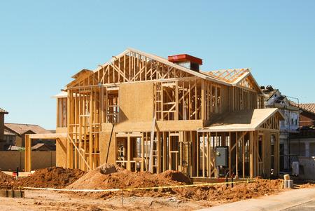 cantieri edili: Framing di casa in costruzione Archivio Fotografico