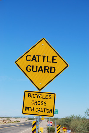 cattle guard: Sign warning that there is a cattle guard ahead. Stock Photo