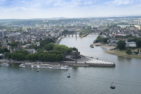 German Corner is a famous landmark where the Rhein and Mosel Rivers converge in the beautiful 2000 year old city of Koblenz, Germany, aerial view
