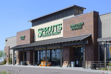 Mesa, Arizona, USA - September 20, 2018: This is the newest Sprouts to open in northeast Mesa, AZ which specializes in organic and natural groceries. The chain was founded in July 202 and its headquarters in located in Phoenix, AZ.