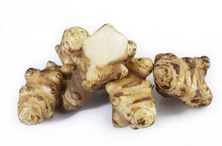 Jerusalem artichoke on white background