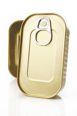 sardine can: Tin can on white background