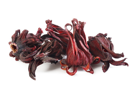 plant antioxidants: Dried roselle on white background