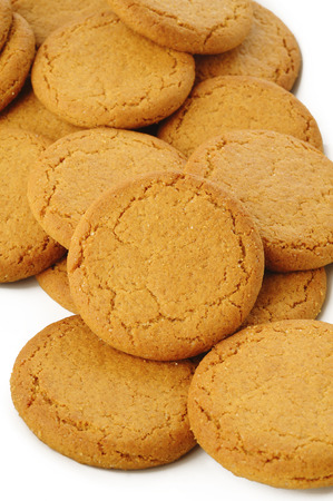biscuts: ginger nut biscuts on white background