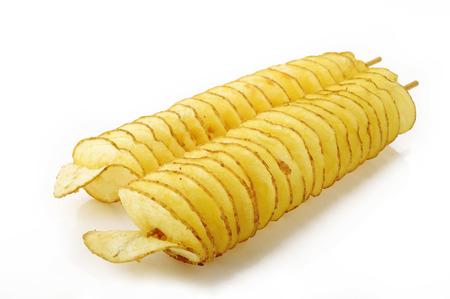twist potato on white background
